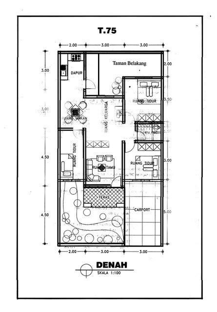 denah rumah satu lantai ukuran
