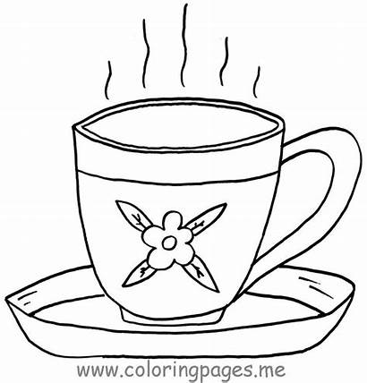 Tea Coloring Cup Pages Teacup Cups Printable