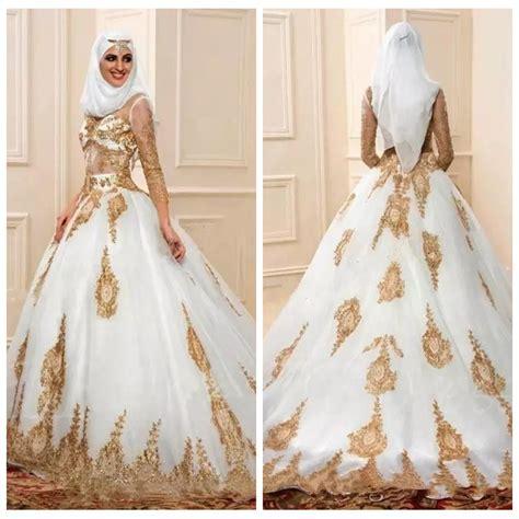 muslim wedding dresses   gold lace applique sexy
