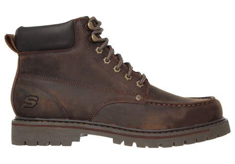 mens skechers bruiser moc toe boot brown