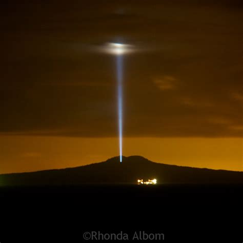 of light mysterious light beam rangitoto island new zealand
