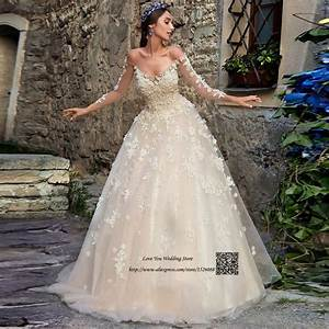 champagne vintage wedding dress lace flowers crystals long With long sleeve champagne wedding dress