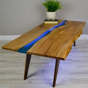 resin river coffee table on walnut base coffee tables With live edge river coffee table