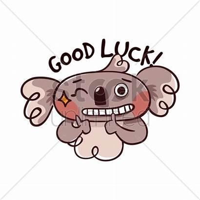 Luck Cartoon Bear Koala Vector Illustration Wishing