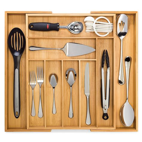 drawer organizer kitchen utensils expandable bamboo tray divider pure