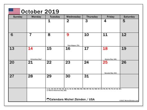 october  calendar usa michel zbinden en