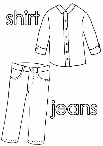 Clothes Worksheets Coloring Pages Pants Shirt Colouring