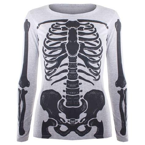 Skeleton Shirt Womens Skeleton Bones Bodycon Tunic T