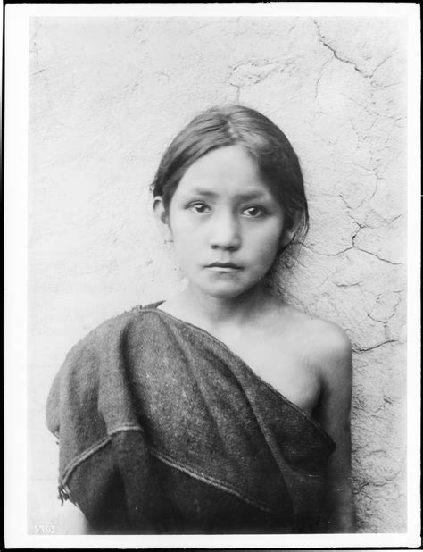 Fileyoung Hopi Indian Girl Standing Outside, Oraibi