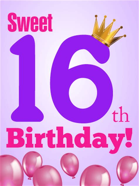 16th Birthday Card For Her  Birthday & Greeting Cards By