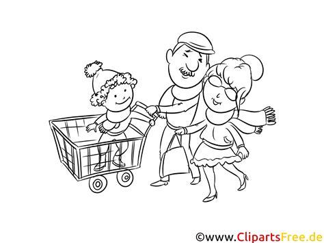 familie beim einkaufen zeichnung schwarz weiss malvorlage