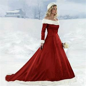 2014 winter off the shoulder a line satin fur collar red With fur wedding dress