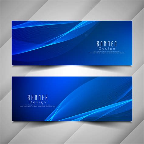 abstract blue wavy banners set   vectors