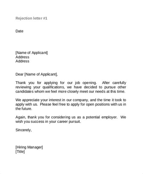 rejection letter template 9 rejection thank you letter free sle exle format free premium templates