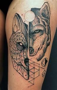 Tatouage Loup Geometrique : tatouage pleine lune et loup lama gourmand ~ Melissatoandfro.com Idées de Décoration