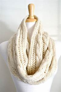Oatmeal Creme, Beige, Cable Knit, Infinity Loop Scarf ...
