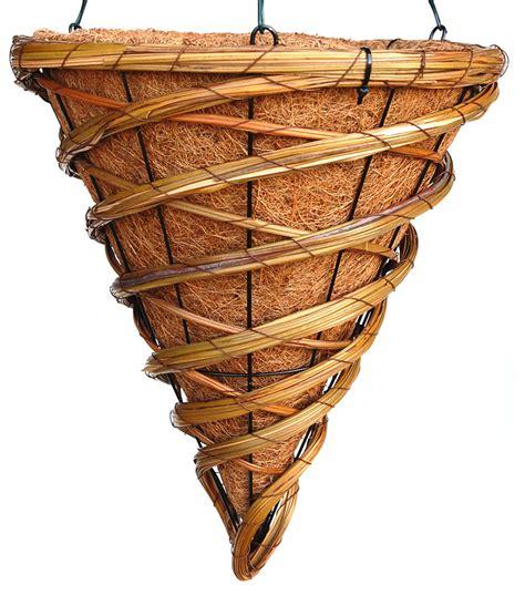 swirl multicolored rattan cone hanging basket 12 quot