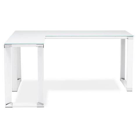 bureau angle en verre bureau d 39 angle design master en verre trempé blanc