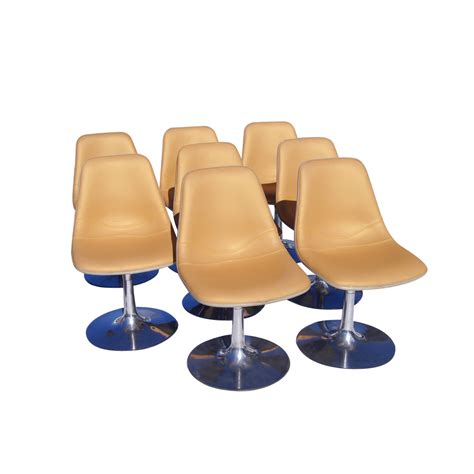 vintage saarinen style tulip chairs with chrome and fabric