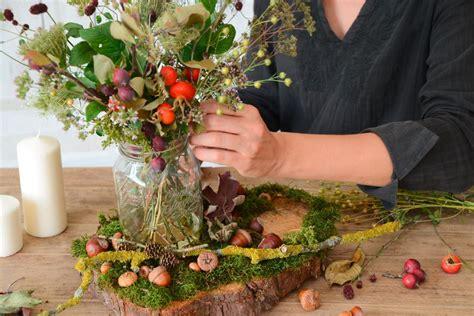 Aus Naturmaterialien by Tischdeko Naturmaterialien Herbst