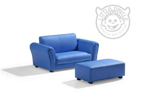 Blue Children's Sofa With Footstool