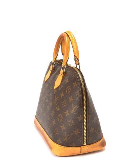 discount brown lv logo print alma handbag secretsales
