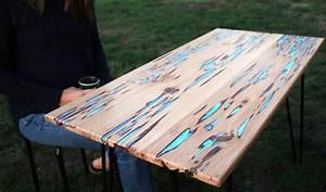 Table Resine Bois : tuto mike warren fabriquer une table phosphorescente r nover une table ~ Teatrodelosmanantiales.com Idées de Décoration