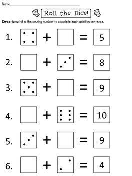 roll  dice missing addend worksheet freebie