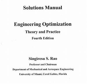 Engineering Optimization Theory And Practice Instructor Manual