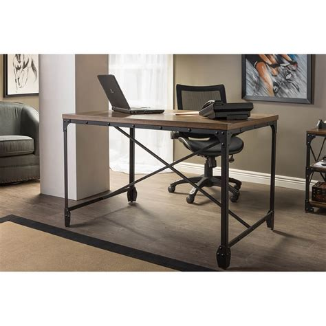 industrial style home office desk industrial wood desk modern furniture brickell collection