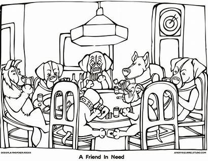 Coloring Cards Pages Dog Famous Deck Playing