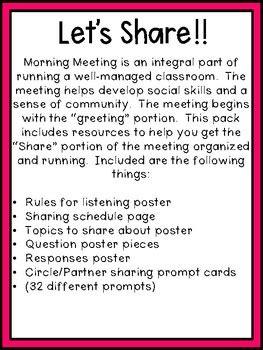 grade morning meeting sharing   wheeler tpt