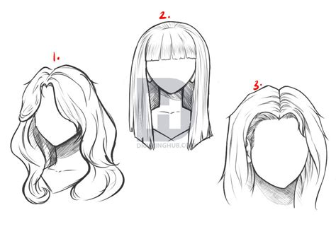 draw long hair step  step drawing guide