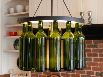 wine bottle light fixture is standing on the kitchen