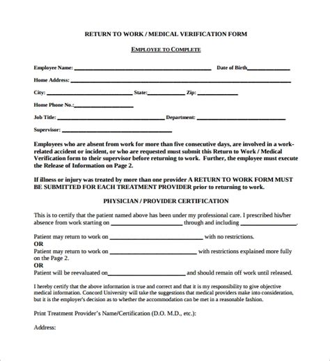 16 return to work medical form templates pdf word