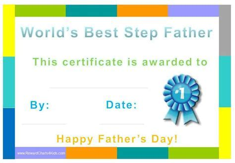 Best Step Dad Father's Day Certificate   Teacherplanet.com