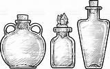 Potion Bottle Drawing Line Ink Medicine Vector Illustration Engraving Alchemist Bottles Istockphoto Clip Witch Illustrations Potter Harry Sketch Tattoo Digitalized sketch template