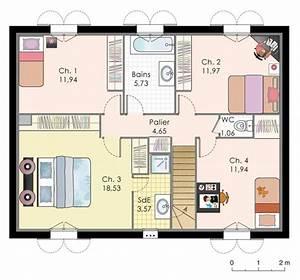 plan maison etage 4 chambres 1 bureau idees novatrices With good plan de maison a etage 1 maison familiale 9 detail du plan de maison familiale 9
