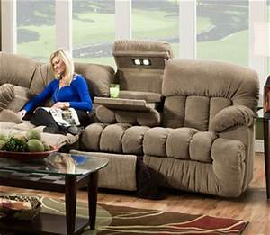 Carrington reclining sofa w drop down table lights for Sectional sofa with drop down table
