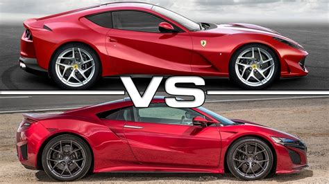 2018 ferrari 812 superfast vs 2017 acura nsx youtube