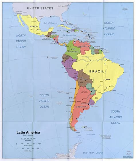 large scale political map  latin america  capitals