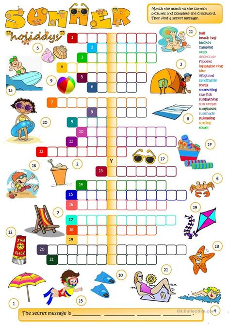 Summer Holidays  Crossword Worksheet  Free Esl Printable