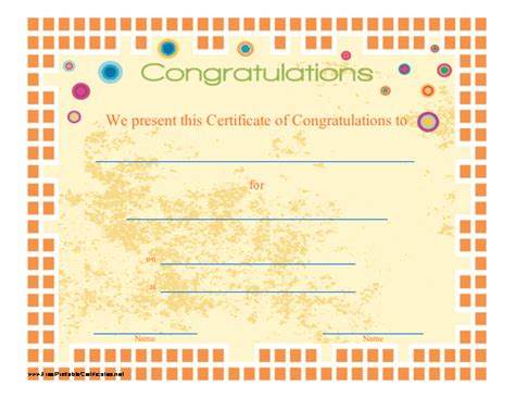 congratulations certificate printable certificate