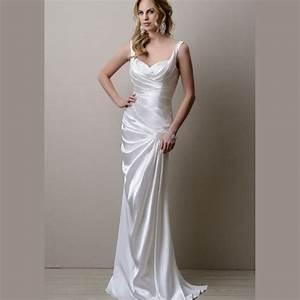 simple white satin bridesmaid dresses 2016 spaghetti With white satin wedding dress
