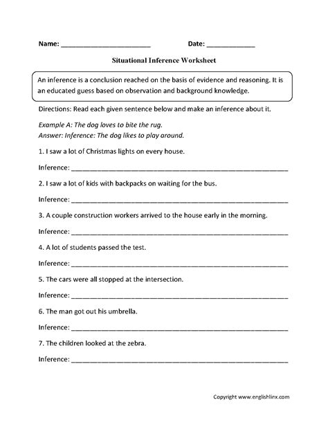 middle school inference worksheets worksheets for all