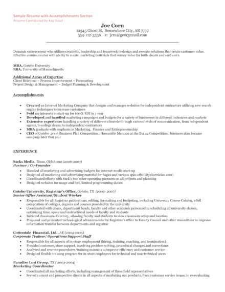 How To List Self Employment On Resume by The Entrepreneur Resume And Cover Letter What To Include