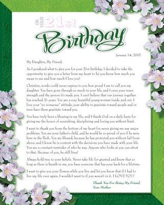 Letter Mother to Daughter Birthday