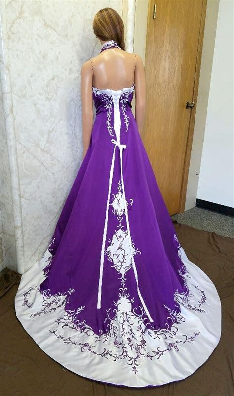 blue and purple wedding dress and white halter top wedding dress