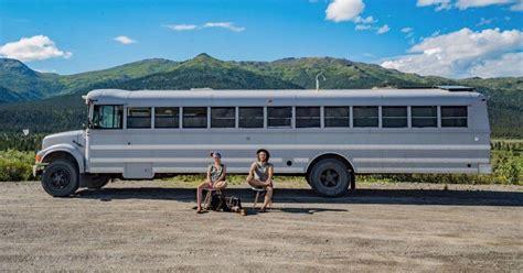 artsy couple turned  school bus   loft  wheels