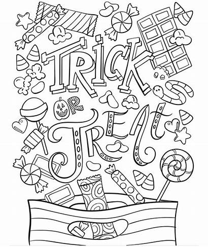 Coloring Trick Halloween Treat Pages Crayola Sheets